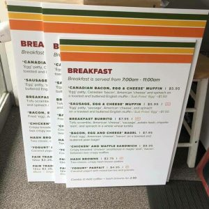 Large format menu signs printed on board