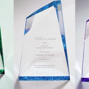 Tinted clear Laser engraved awards