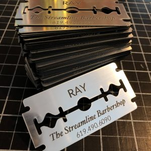 Engraved acrylic business cards