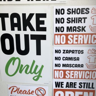 COVID Take Out Only Signage