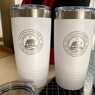 Engraved Tumblers with california seal