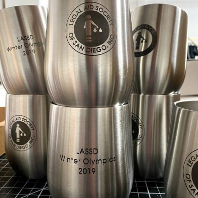 Engraved Aluminum Wine Tumblers Stacked up