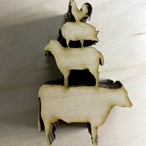 Animal patters laser cut from wood