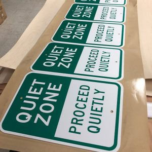 Aluminum Signs that say Quiet zone